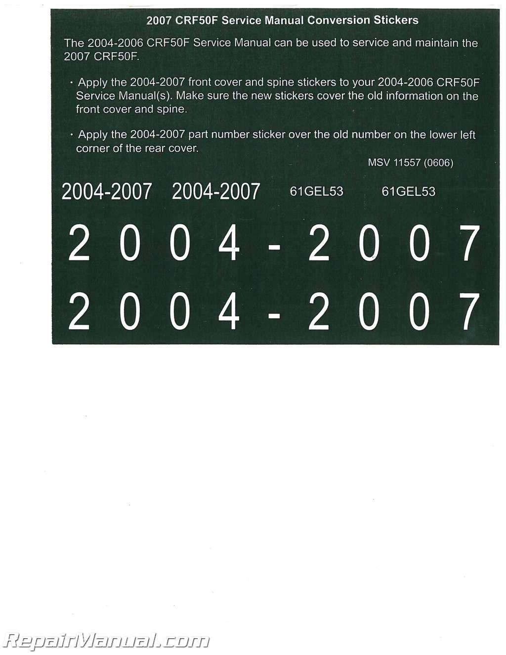 2004 2007 honda crf50f service manual. Black Bedroom Furniture Sets. Home Design Ideas