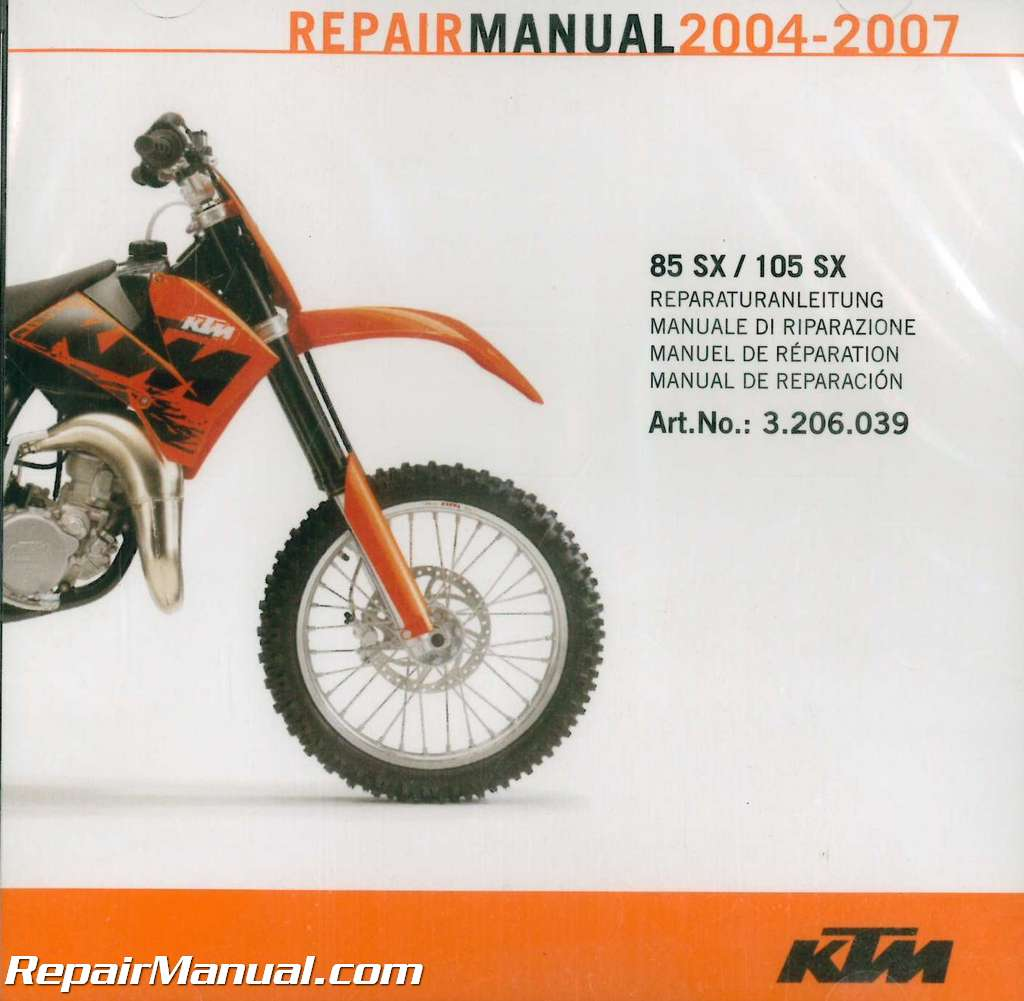 2004-2007 KTM 85SX 105SX Repair Manual & Motorcycle Owners Manual on CD-ROM
