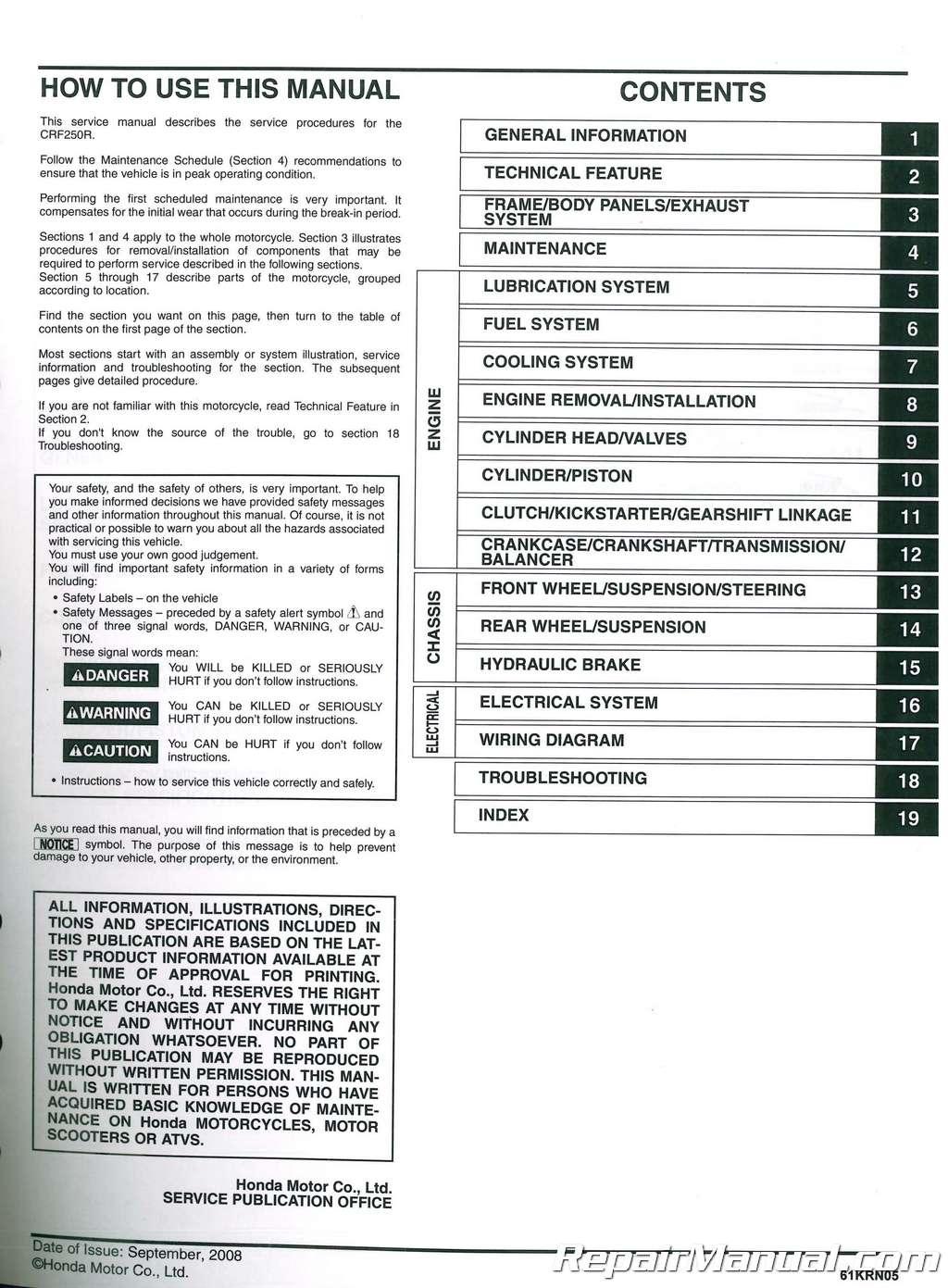 Used Honda Motorcycle Dealer >> 2004-2009 Honda CRF250R Motorcycle Service Repair Manual