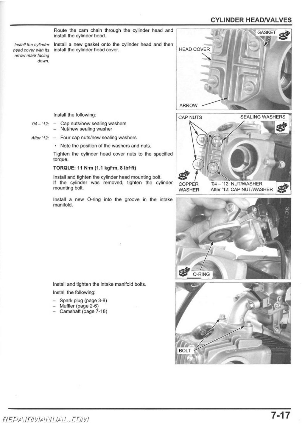 2004 2018 Honda Crf50f Motorcycle Service Manual Cylinder Diagram