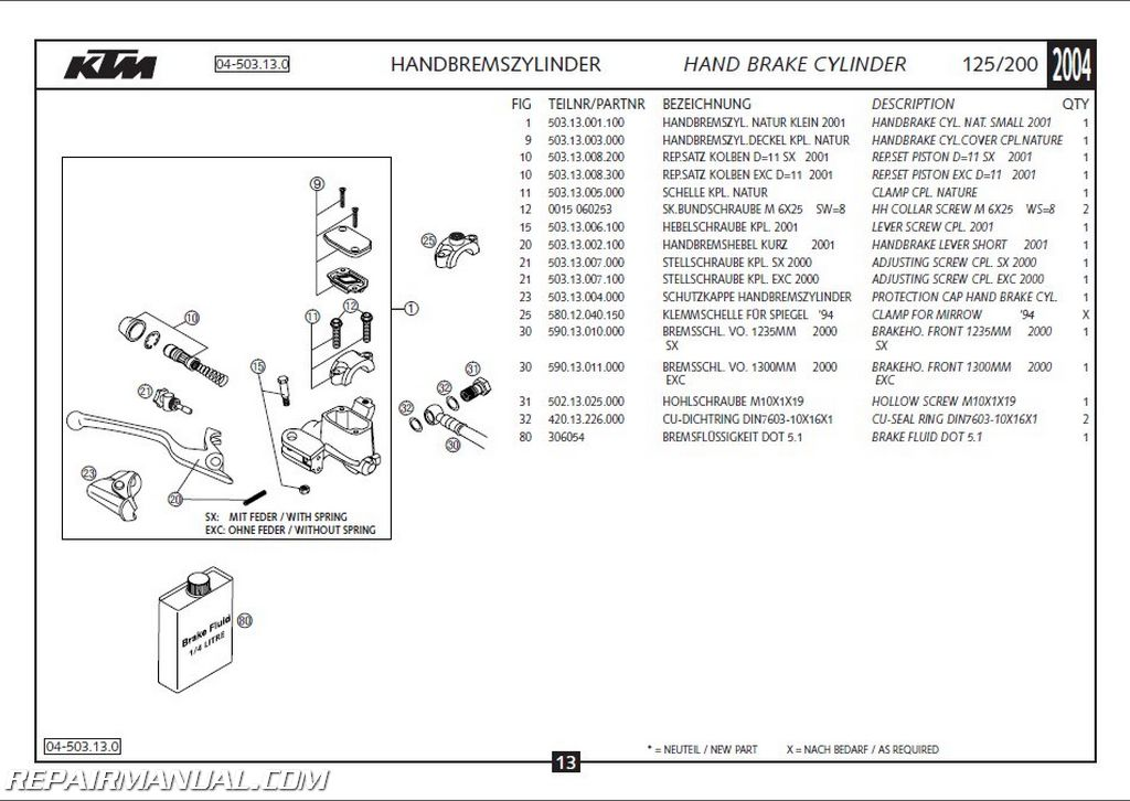 2004 ktm 125 200 exc sx chassis spare parts manual   ebay