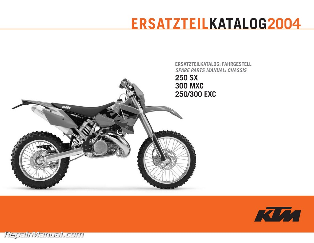 2004 ktm 250 300 sx mxc exc chassis spare parts manual