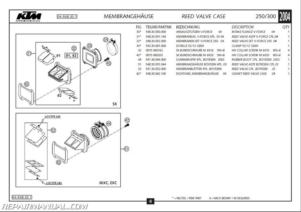 2004 KTM 250 300 SX MXC EXC Engine Spare Parts Manual