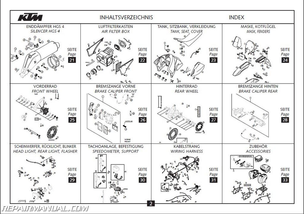 2004 KTM 400 LS-E MIL Chassis Spare Parts Manual