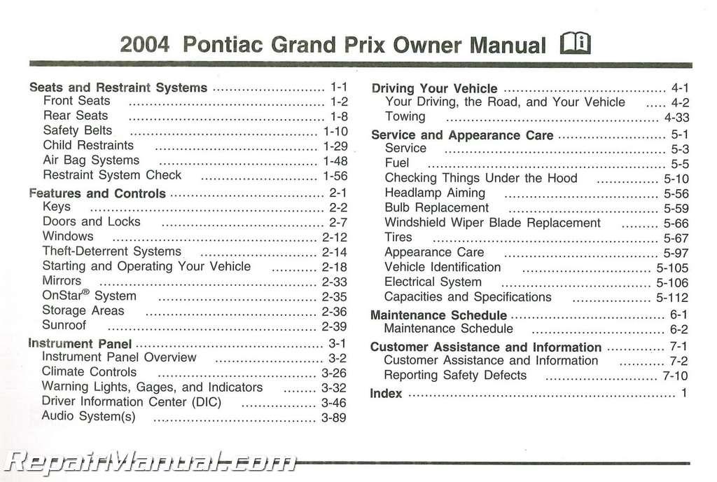 2004 Pontiac Grand Prix Owners Manual
