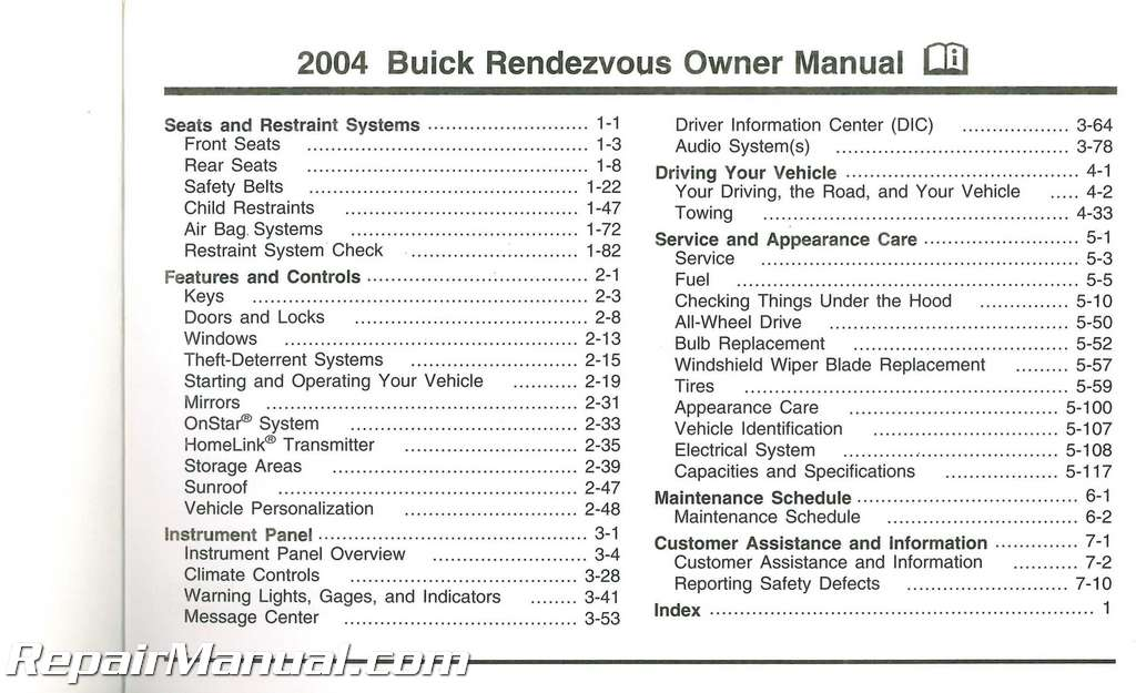 2004 buick rendezvous owners manual. Black Bedroom Furniture Sets. Home Design Ideas