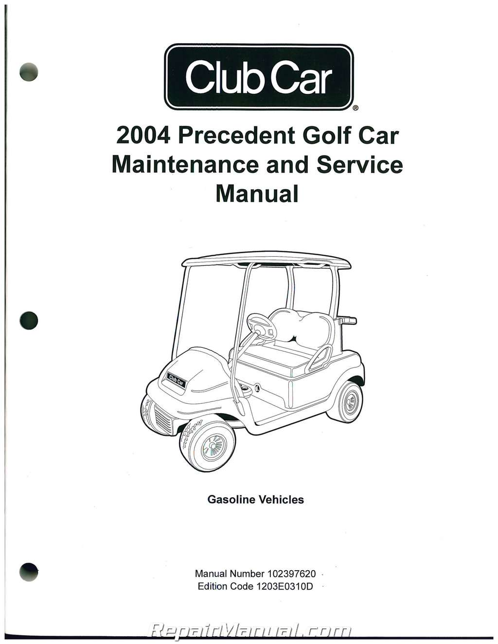 2004 precedent club car golf cart service manual rh repairmanual com 48 Volt Club Car Wiring Diagram Club Car 48 Volt Charger