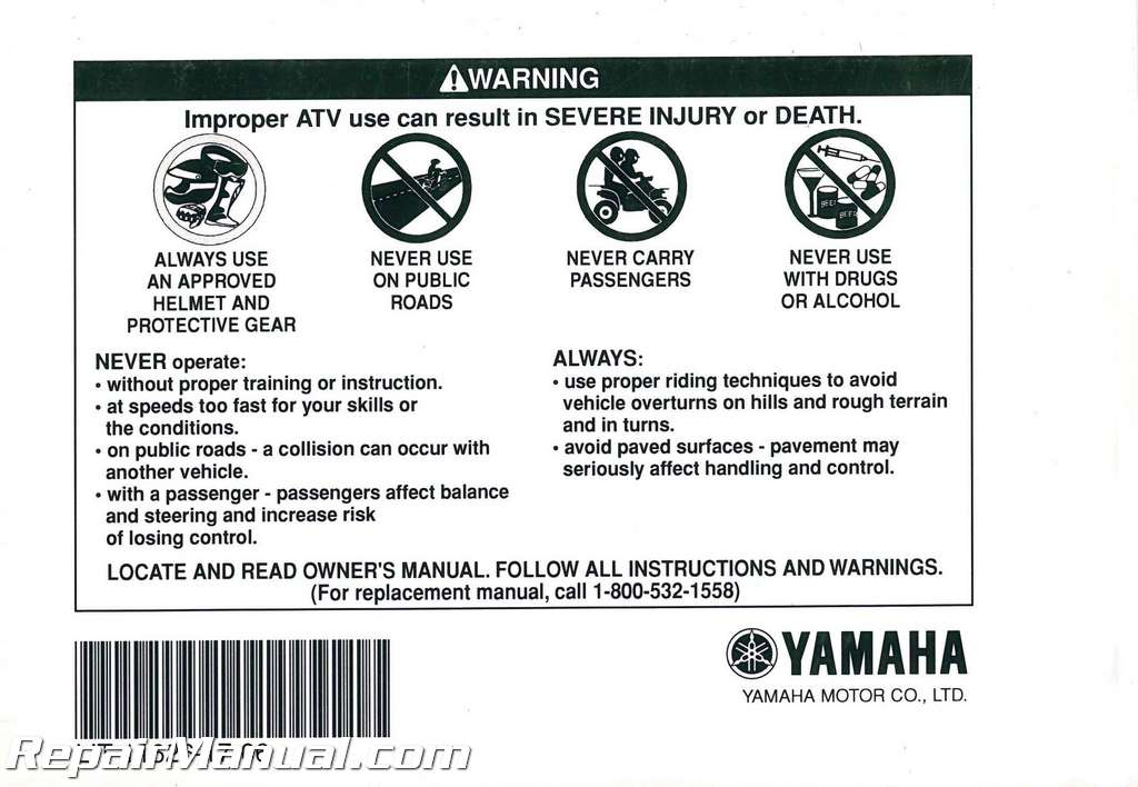 2004 Yamaha Yfm350xs Warrior Atv Owners Manual