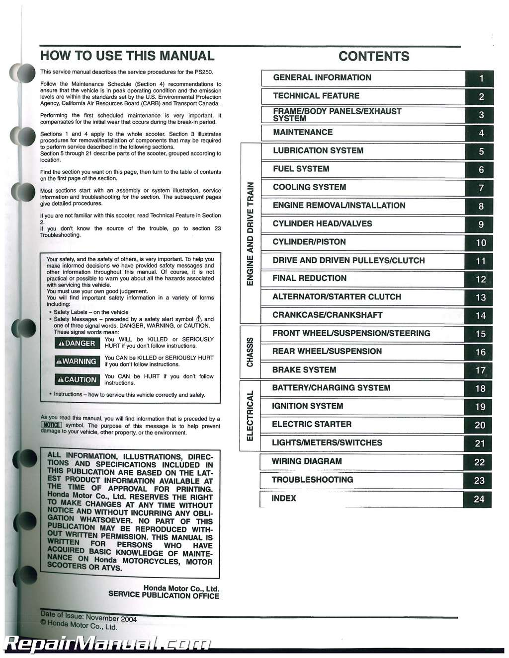 2012 Honda Ruckus Service Manual