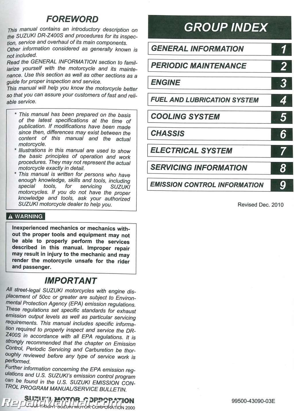 2005-2011 Suzuki DR-Z400SM SuperMoto 2000-2011 DR-Z400S Paper Service Manual