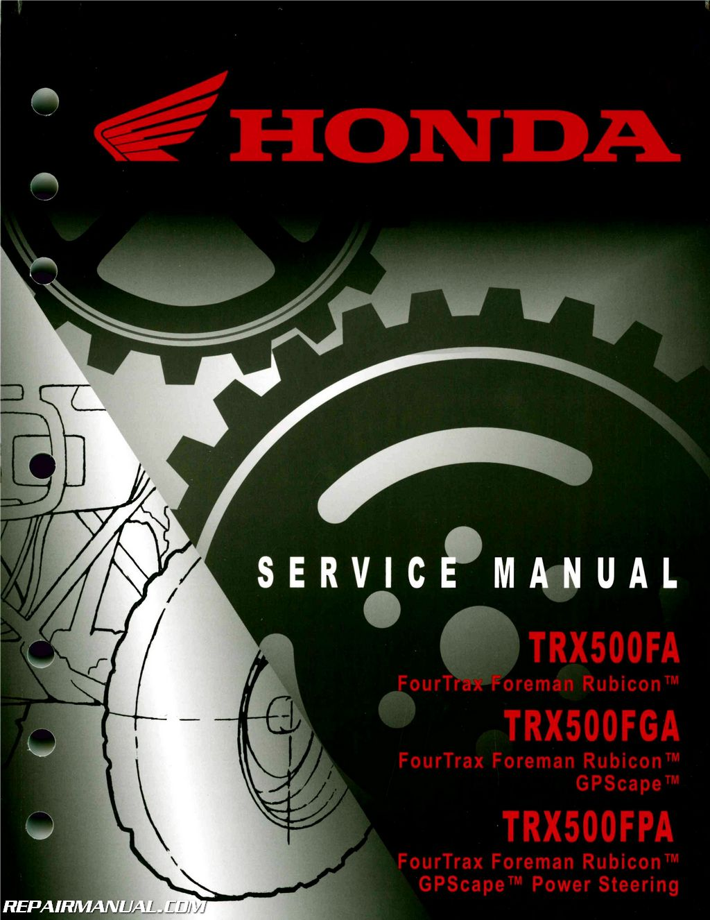 Honda TRX500FA FGA Fourtrax Foreman Rubicon GPScape ATV Service Manual  2005-2014