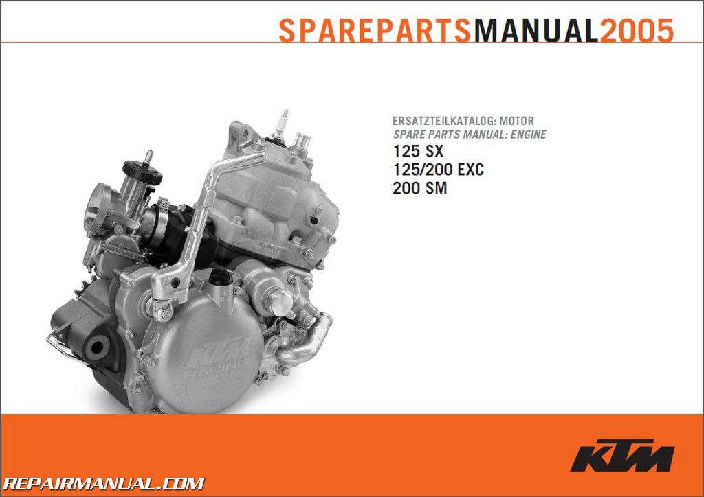 2005 Ktm 125sx 125 200exc And 200sm Engine Spare Parts Manual