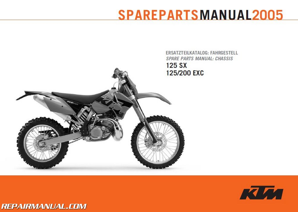 2005 ktm 125sx 125 exc and 200 exc chassis spare parts manual