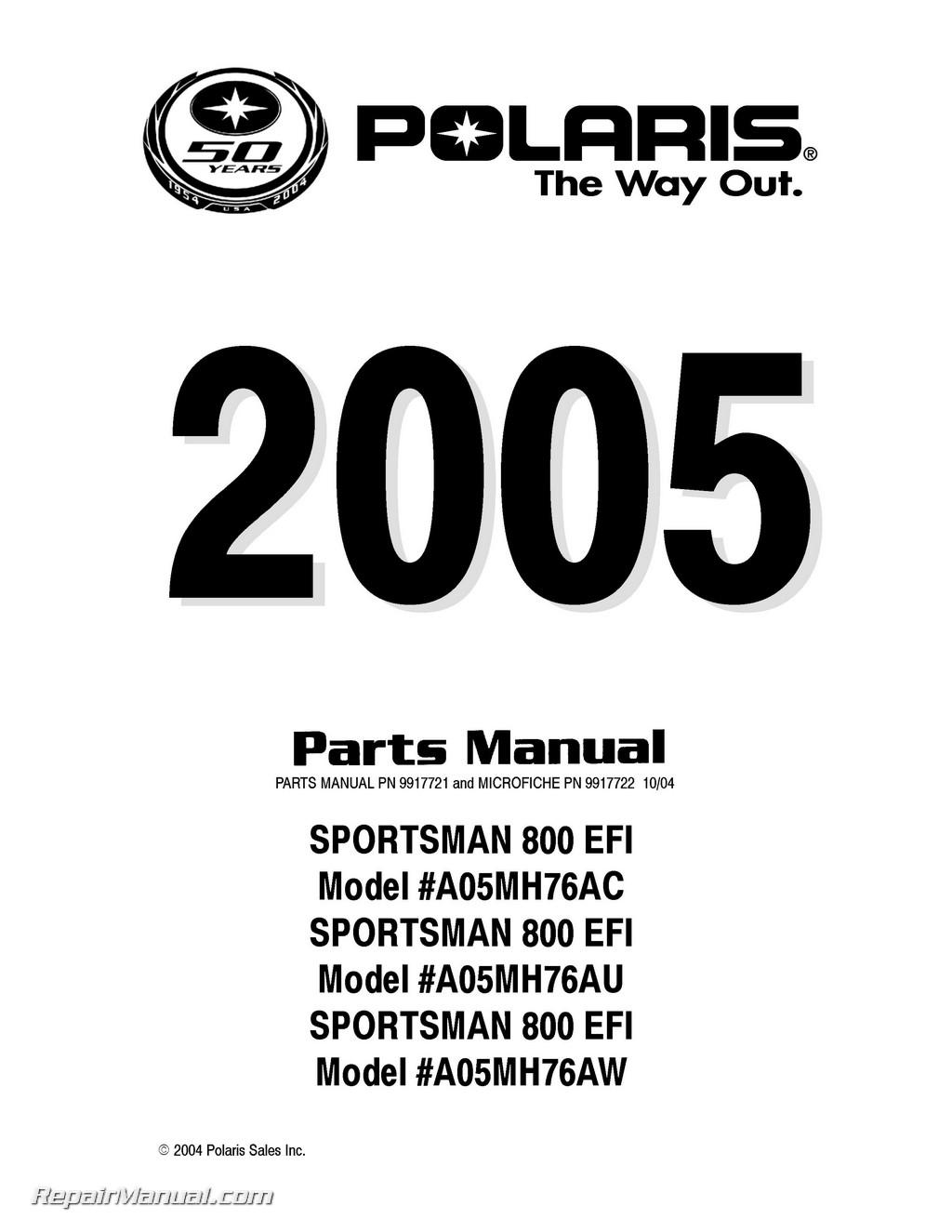 polaris sportsman 800 efi owners manual 2005