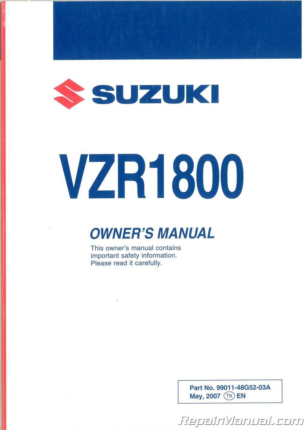 2006 2007 2008 2009 VZR1800K M109 Boulevard Suzuki Motorcycle Owners Manual
