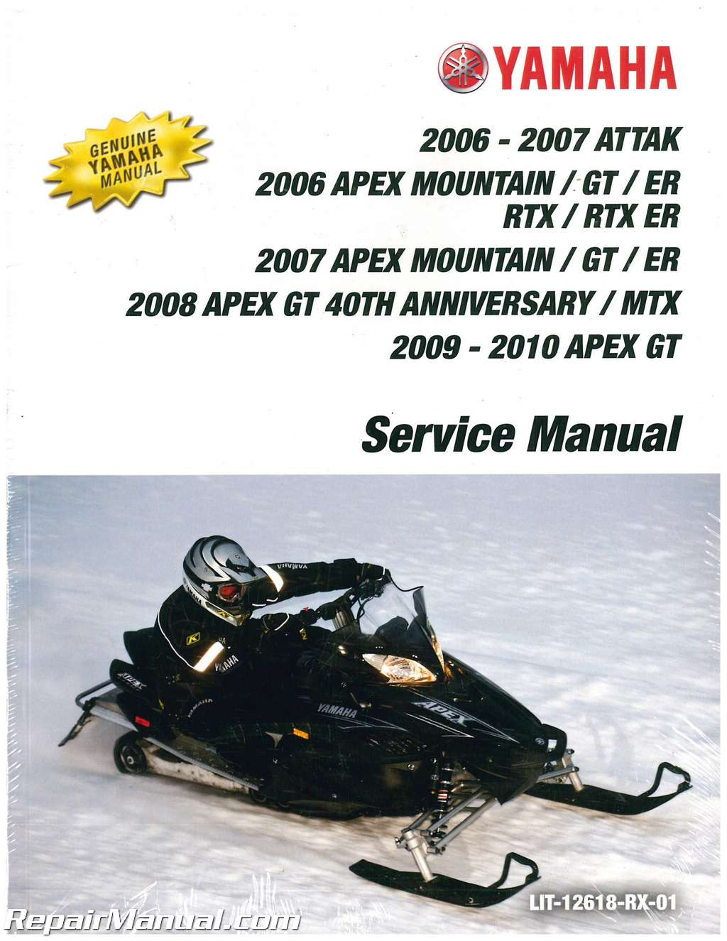 2006 2010 yamaha apex rx rxw10 snowmobile service manual rh repairmanual com 2007 Yamaha Apex Mountain 2008 Yamaha Apex Attack