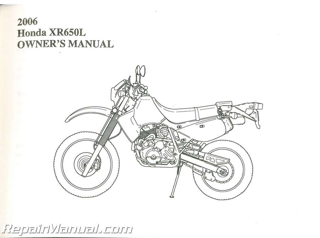 2006 Honda Xr650l Motorcycle Owners Manual
