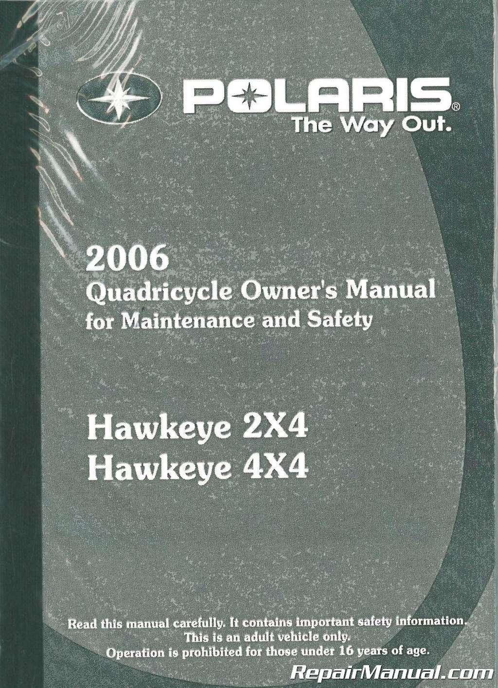 2006 polaris hawkeye 300 2x4 and 4x4 international owners manual rh repairmanual com 2006 Polaris Hawkeye 300 2X4 2006 Polaris Hawkeye 300 2X4