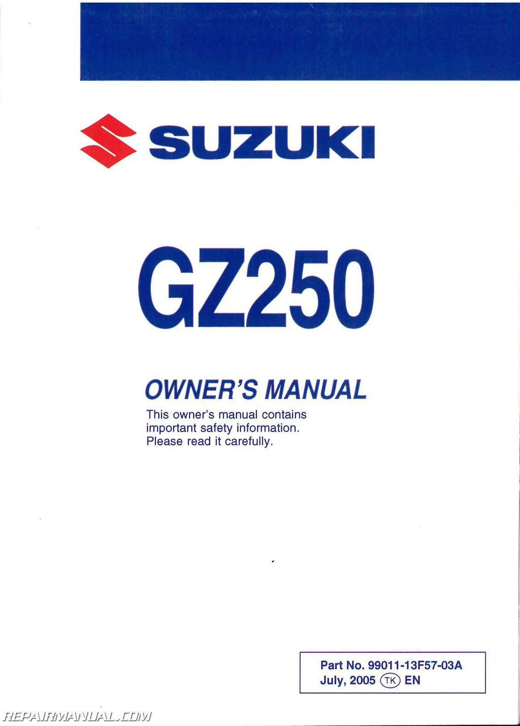 2006 Suzuki GZ250 Marauder Owners Manual