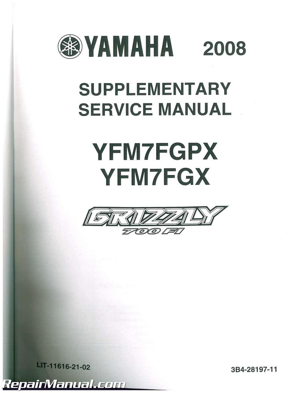 2007 – 2008 Yamaha YFM700 Grizzly ATV Service Manual