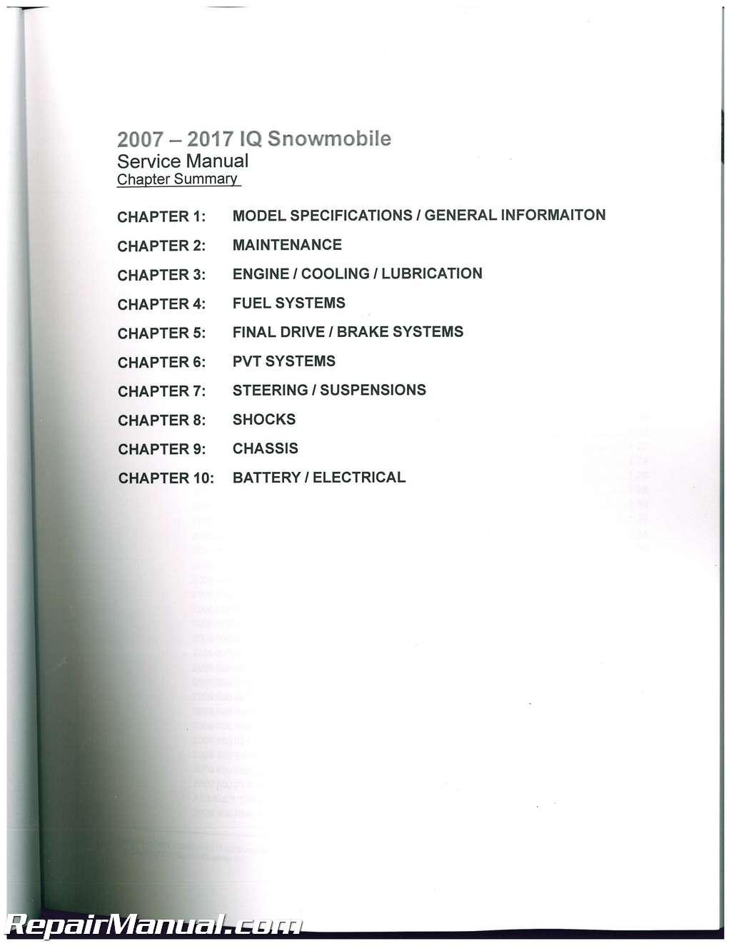 polaris snowmobile 2007 2011 550 600 700 800 repair manual