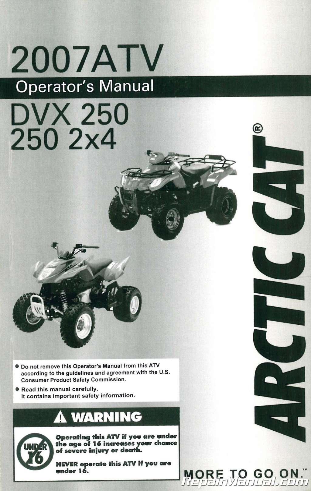 2007 Arctic Cat 250 Dvx 2 215 4 Owners Manual border=
