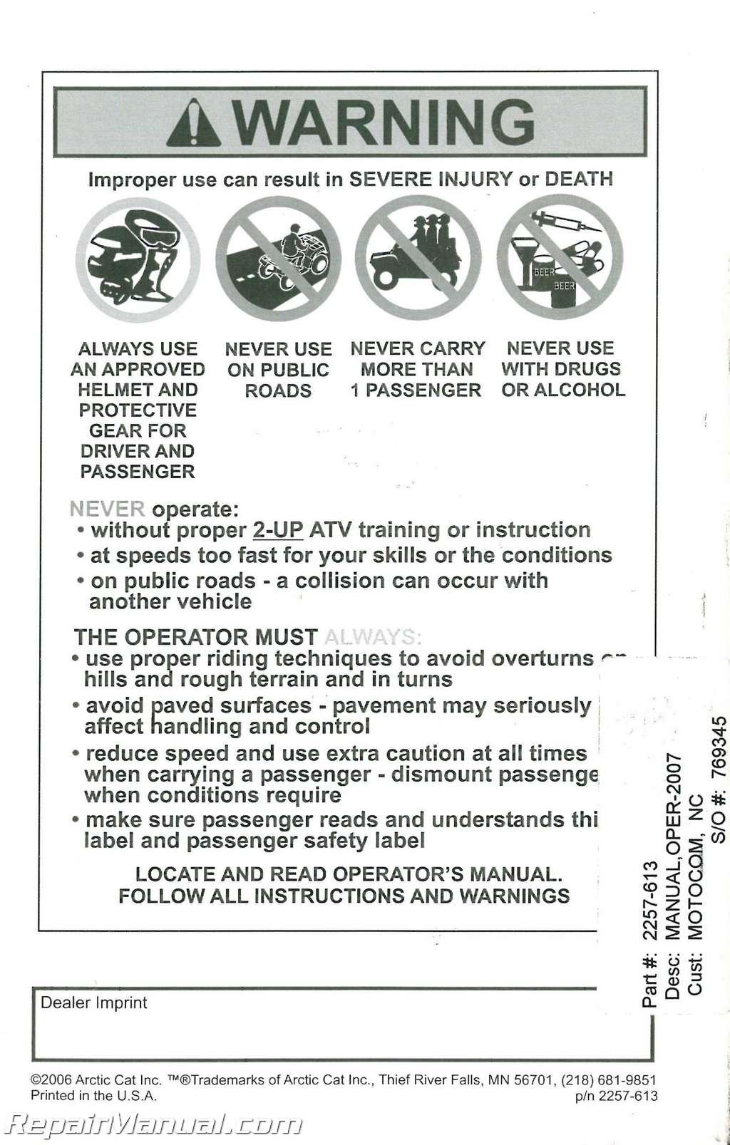 2007 Arctic Cat Trv Owners Manual border=