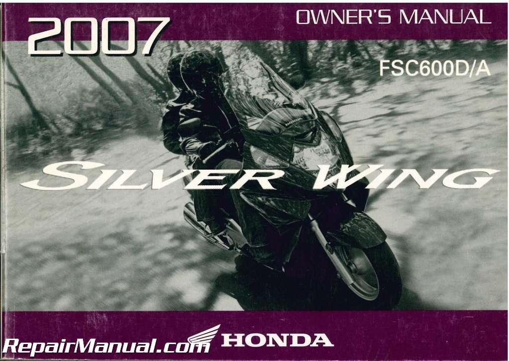 2007 honda fsc600 silver wing scooter owners manual 31mct650 ebay rh ebay com honda scooter service manual honda jazz scooter owners manual