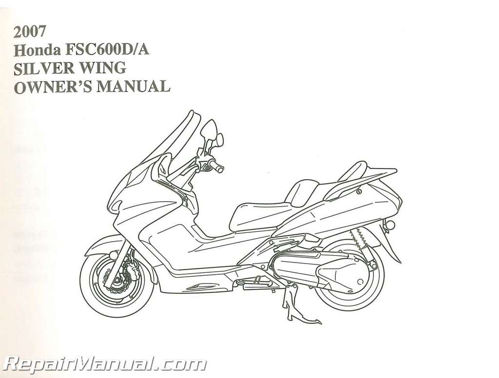 2007 honda fsc600 silver wing scooter owners manual