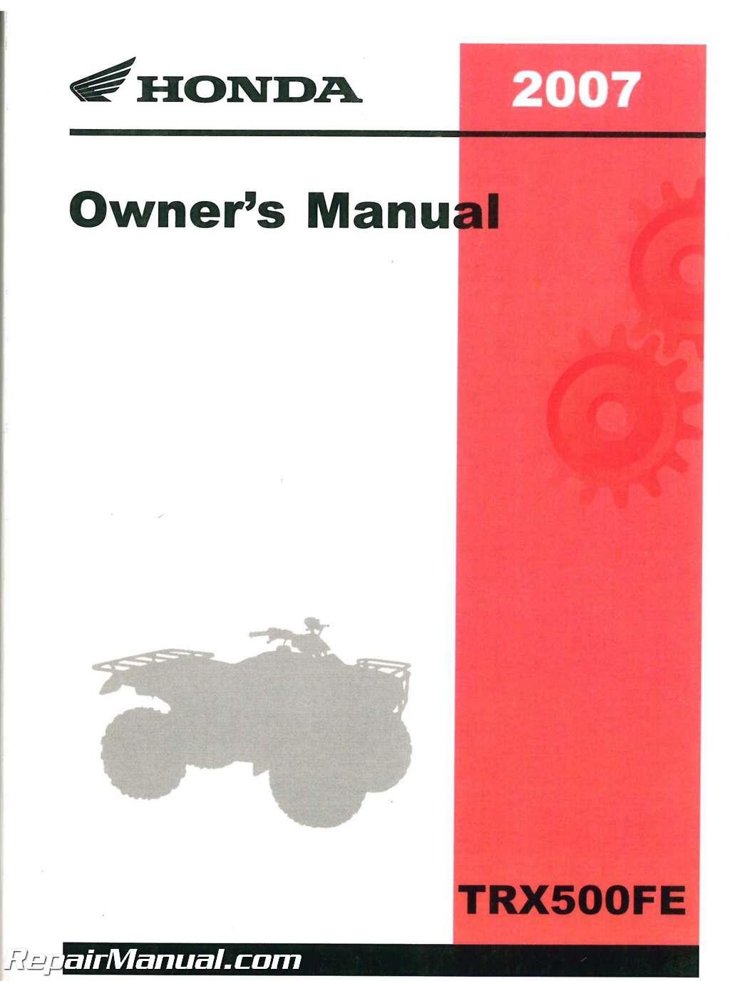 2012 honda foreman 500 owners manual