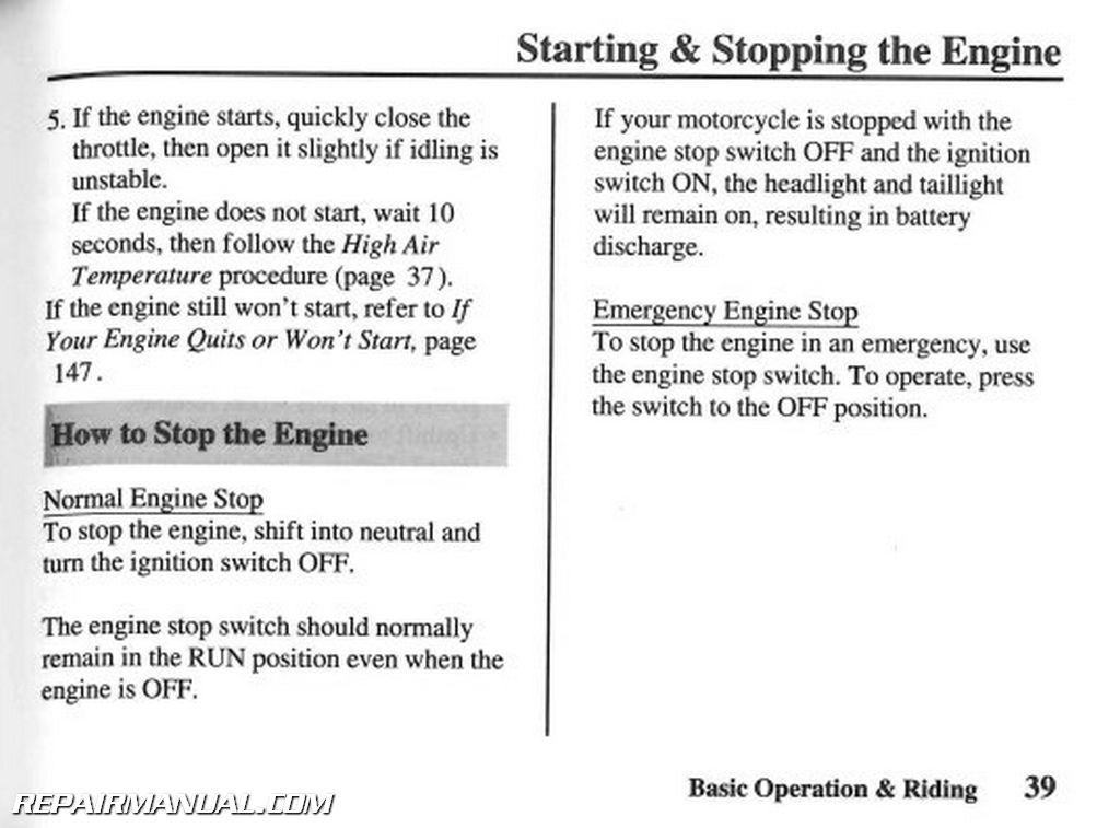 2007 honda vt750c2 shadow spirit motorcycle owners manual rh repairmanual com User Manual Template Owner's Manual