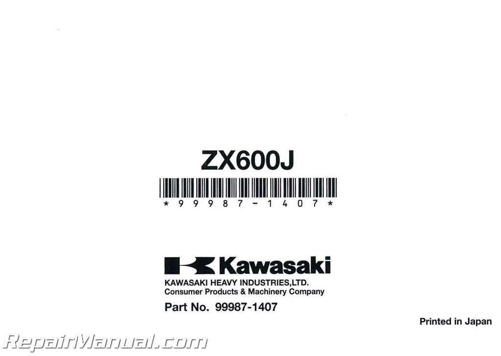 2007 Kawasaki Zx600j Owners Manual