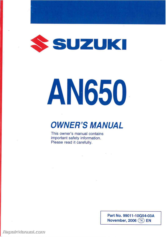 2007 suzuki burgman 650 owners manual