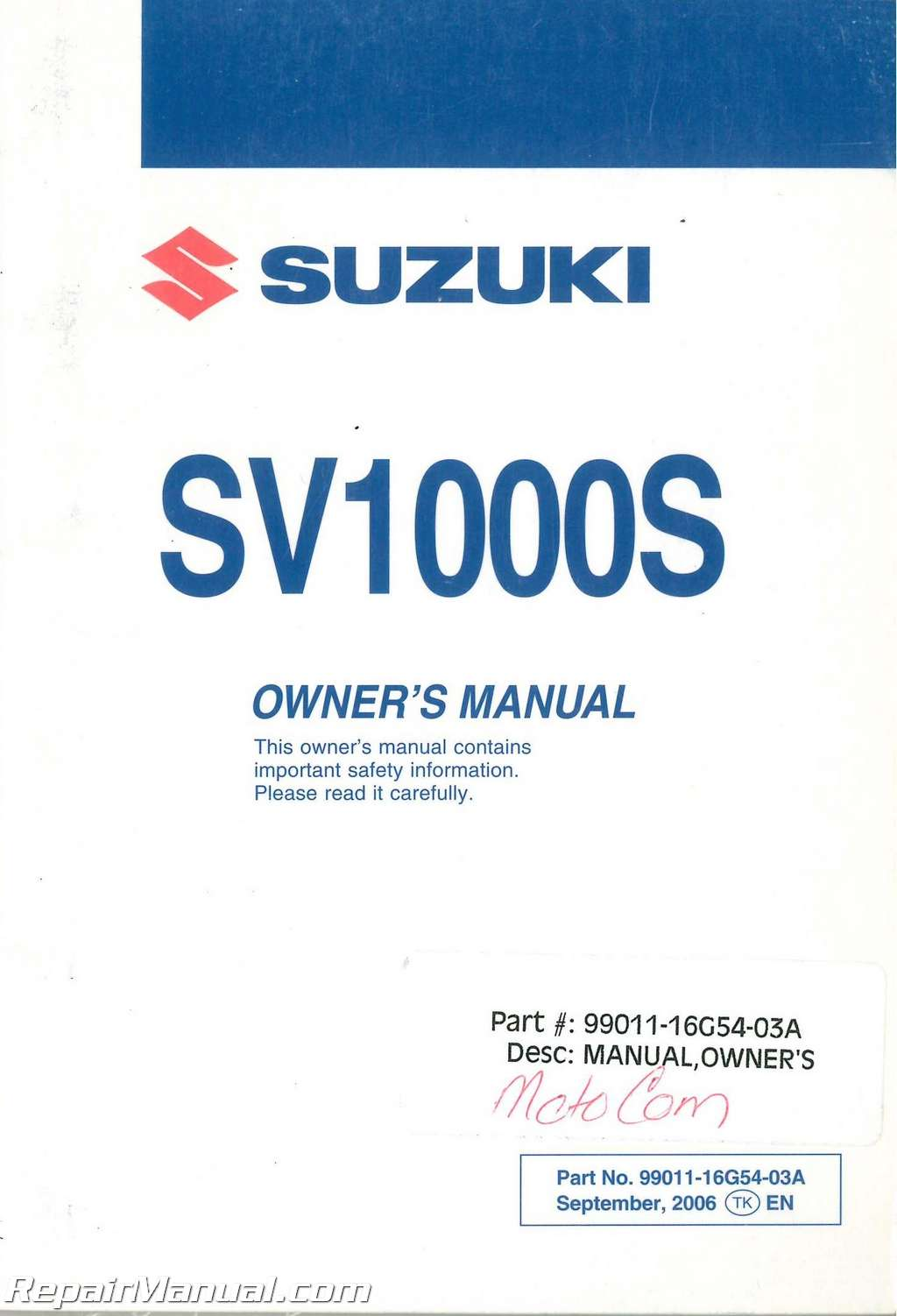 2007 suzuki sv1000s k7 motorcycle owners manual rh repairmanual com 2007 suzuki sv1000s service manual suzuki sv1000 service manual download