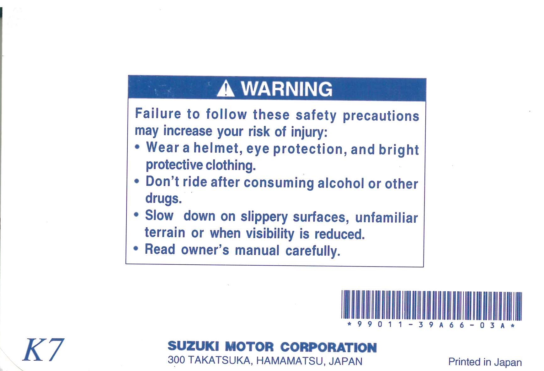 Suzuki Owners Manual 2006 VS800