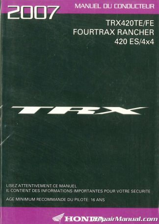 2007 trx420te fe fourtrax rancher 420es 4x4 cf manuel du 1996 nissan pathfinder service manual 1996 nissan pathfinder repair manual pdf