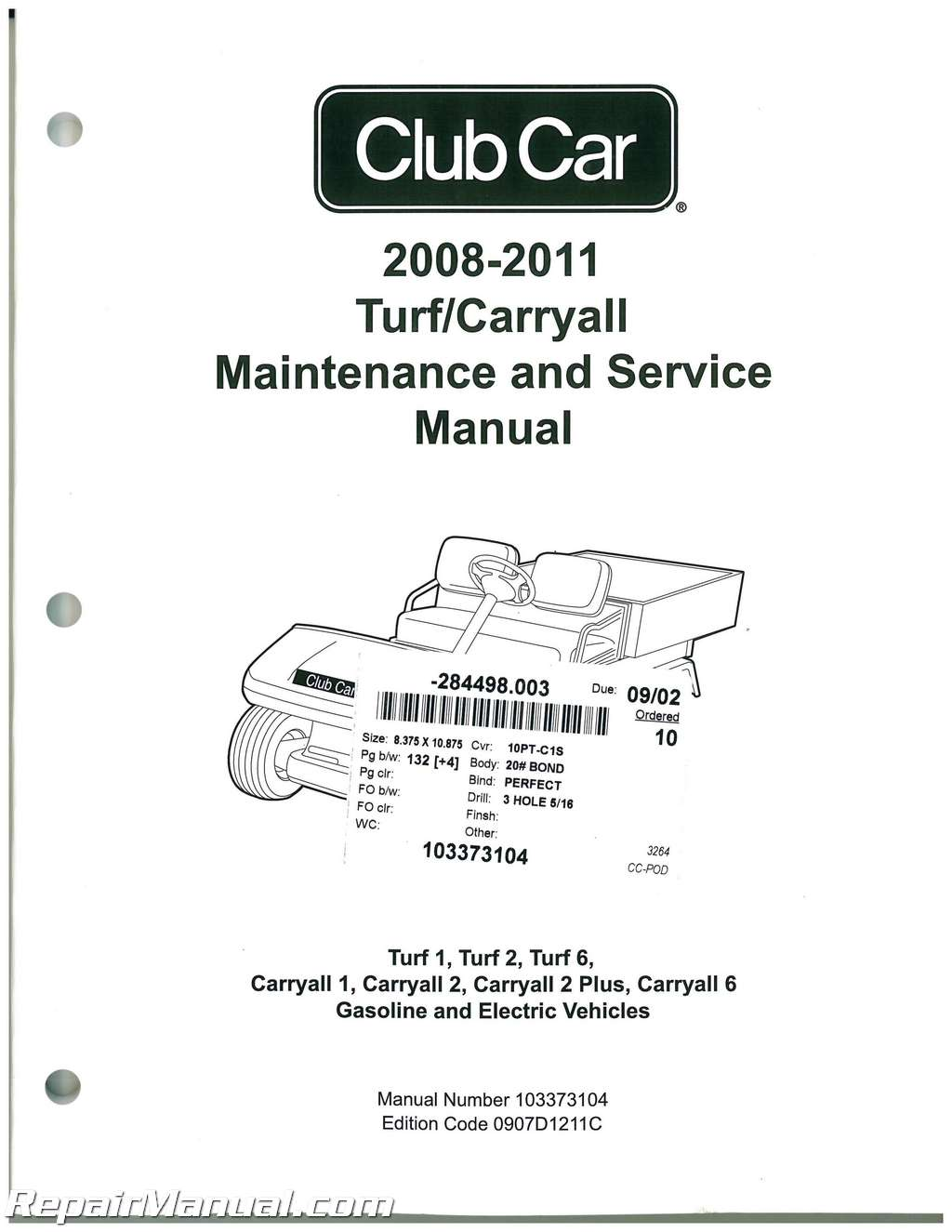2008 2011 Club Car Turf, Carryall Turf 1, Turf 2, Turf 6, Carryall 1 95 Club  Car Wiring Diagram Club Car Carryall 1 Wiring Diagram