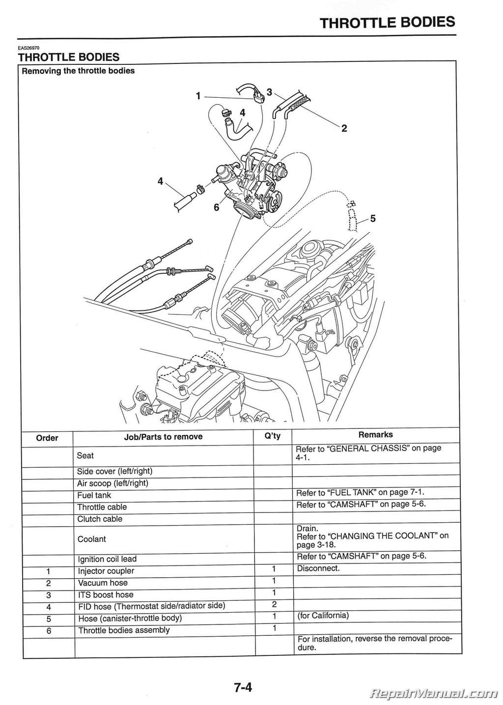 yamaha wrr wrx motorcycle service manual