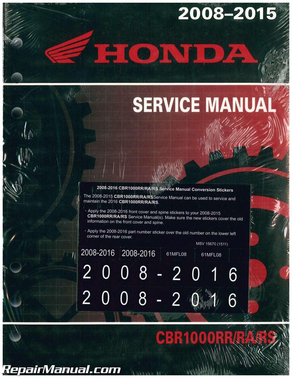 Honda Cbr1000Rr For Sale >> 2008-2016 Honda CBR1000RR Motorcycle Service Manual
