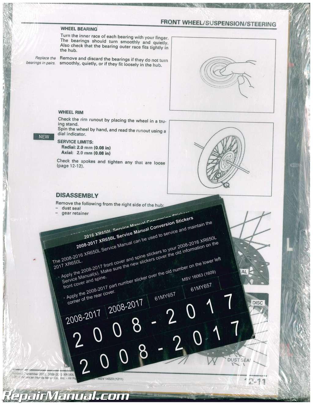 2008 2017 honda xr650l dual sport motorcycle service manual rh repairmanual com