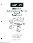 2008 Club Car FE350 Gasoline Maintenance And Service Manual Supplement