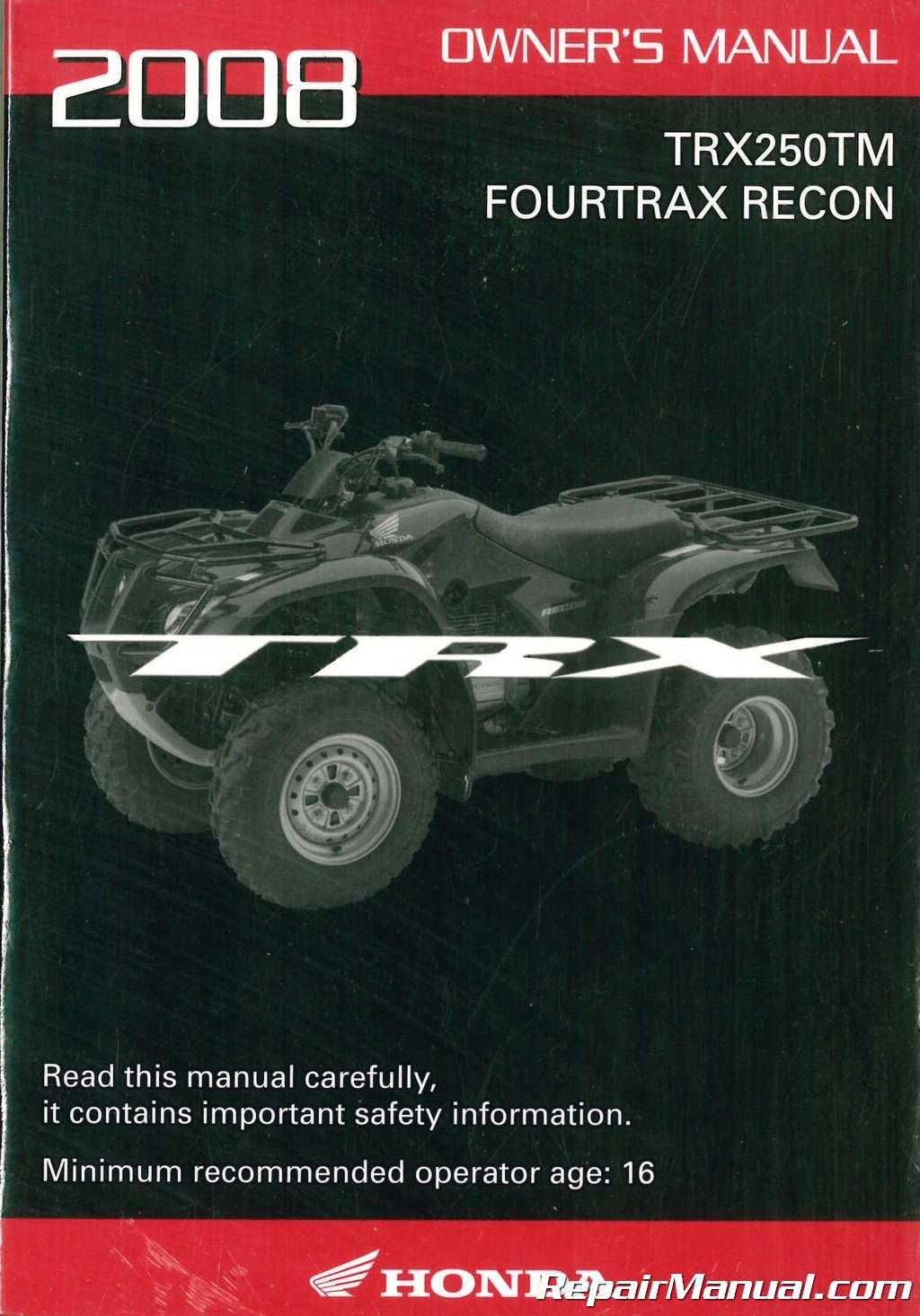 2008 Honda TRX250TM Fourtrax Recon ATV Owners Manual_001