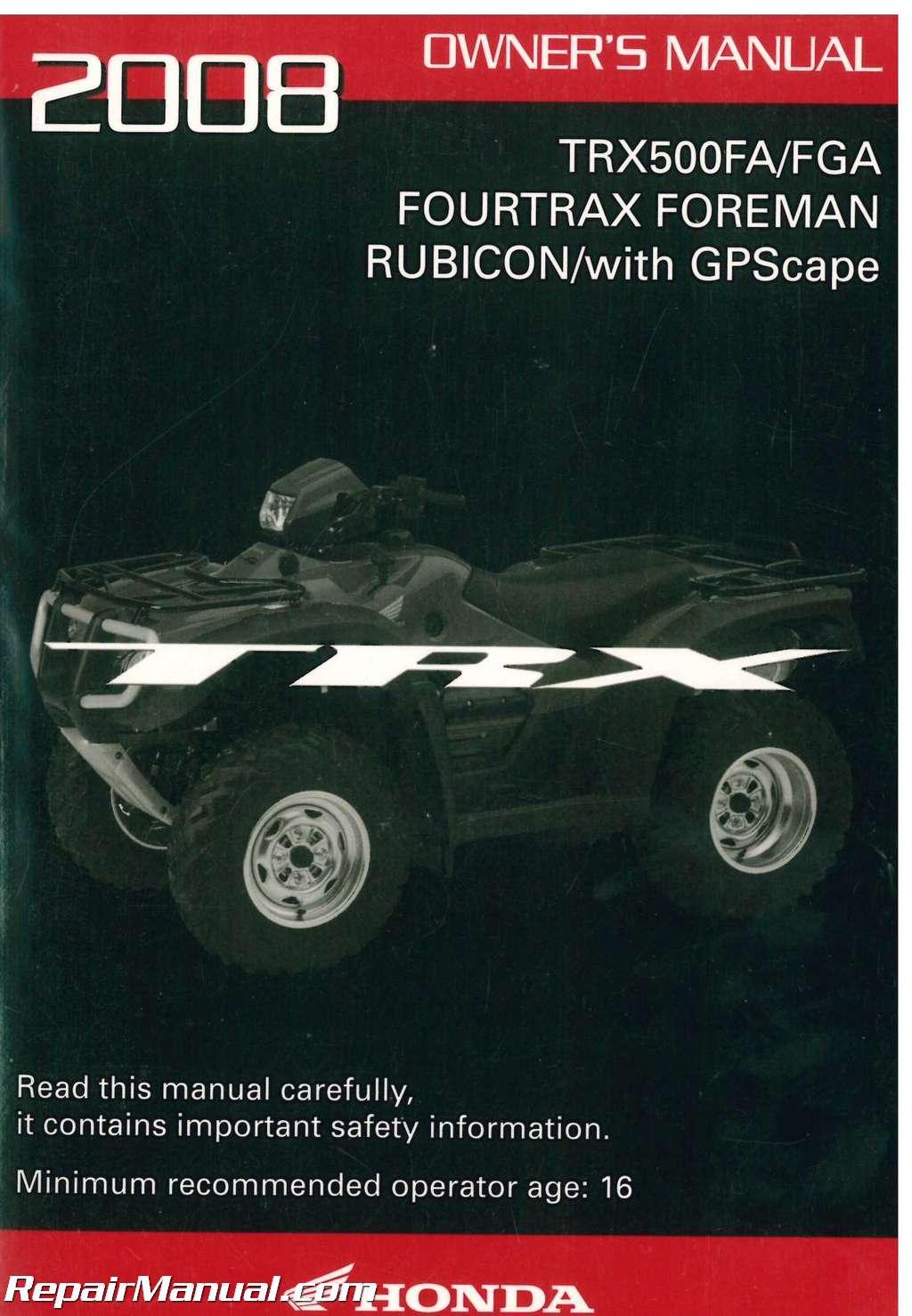 Honda Foreman Rubicon 500 Service Manual