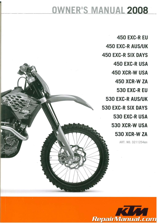 2008 ktm 450 exc r xcr w 530 exc r xcr w motorcycle owners manual rh repairmanual com ktm 450 exc service manual ktm 450 exc repair manual