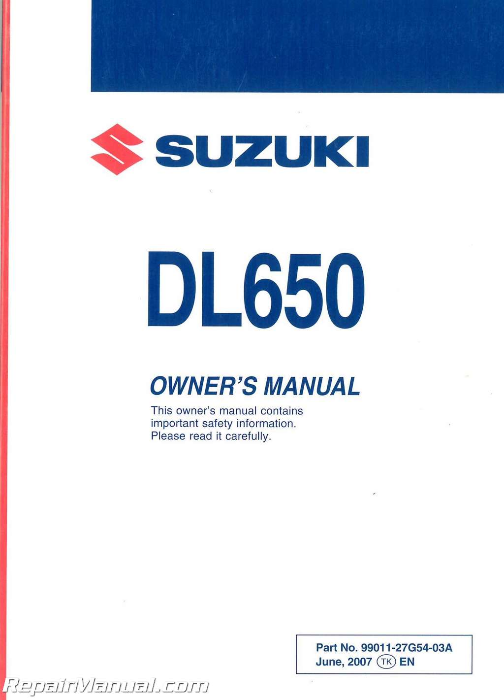 Suzuki V Strom Owners Manual