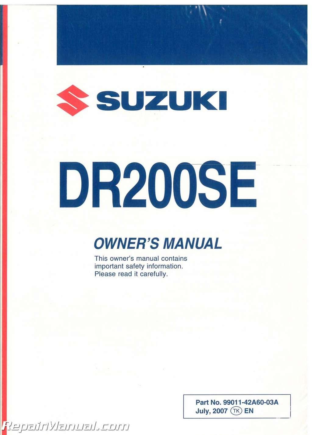 2008 suzuki dr200sek8 motorcycle owners manual suzuki dr 200 service manual pdf 2004 suzuki dr 200 service manual