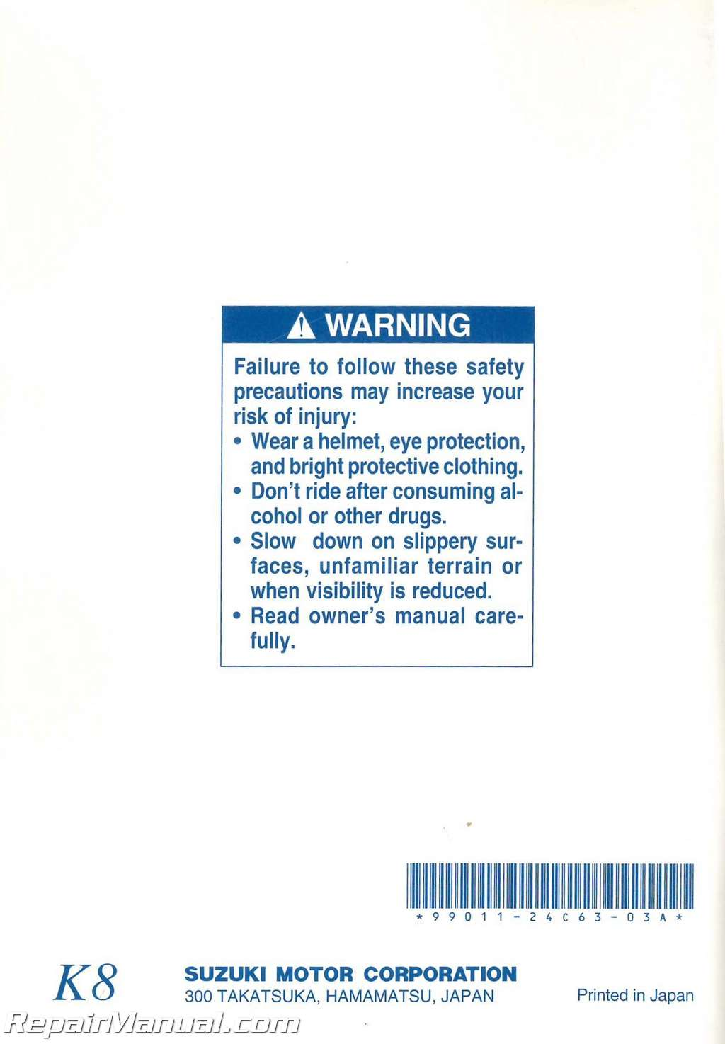 Suzuki Savage Owners Manual