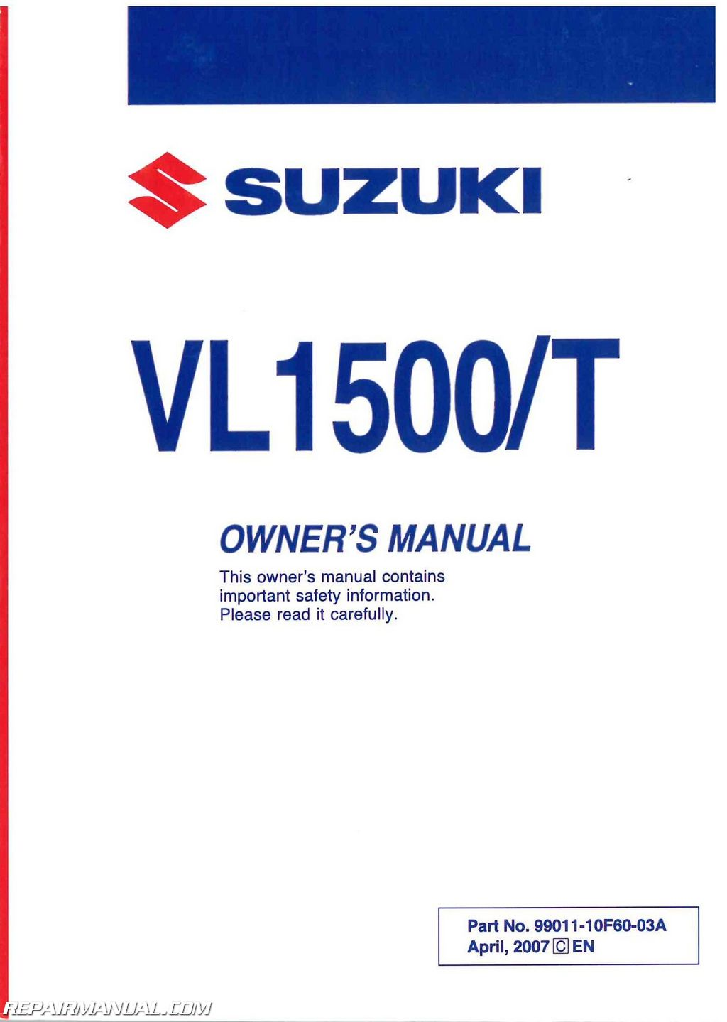 2008 Suzuki Vl1500 Boulevard C90 C90t Motorcycle Owners Manual