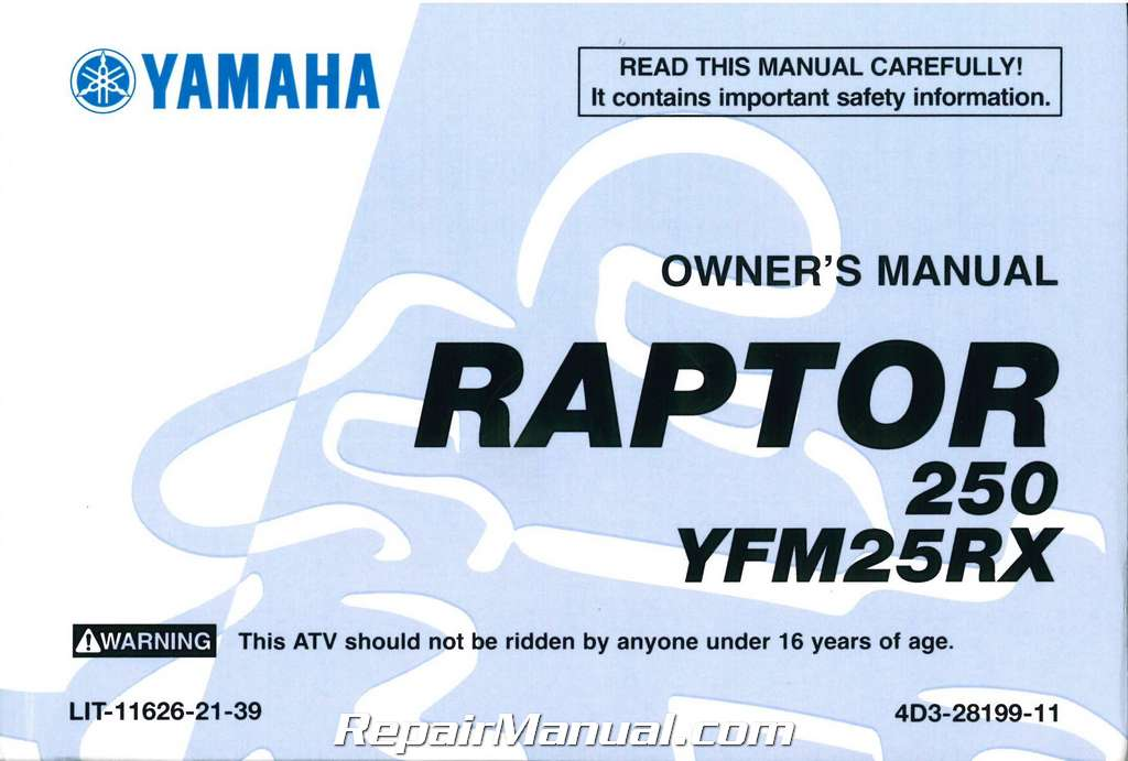 2008 Yamaha Yfm250rx Raptor Atv Owners Manual