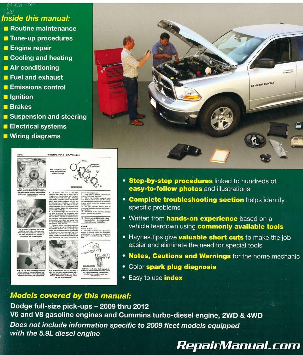 2009 2012 dodge ram pick up truck haynes repair manual rh repairmanual com 2009 dodge ram owners manual 2009 dodge ram service manual